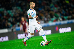Aljaz Struna  of Slovenia during the 2020 UEFA European Championships group G qualifying match between Slovenia and Latvia at SRC Stozice on November 19, 2019 in Ljubljana, Slovenia. Photo by Vid Ponikvar / Sportida