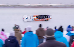 20.01.2019, Olympia Eiskanal, Innsbruck, AUT, BMW IBSF Weltcup Bob, Igls, Herren Viersitzer, 2. Lauf, im Bild Pilot Ivo De Bruin, Joost Dumas, Dennis Veenker, Janko Franjic (NED) // Pilot Ivo De Bruin Joost Dumas Dennis Veenker Janko Franjic of Netherlands in action during the 2nd run of men's four-man Bobsleigh of the BMW IBSF Bob World Cup at the Olympia Eiskanal in Innsbruck, Austria on 2019/01/20. EXPA Pictures © 2019, PhotoCredit: EXPA/ Johann Groder