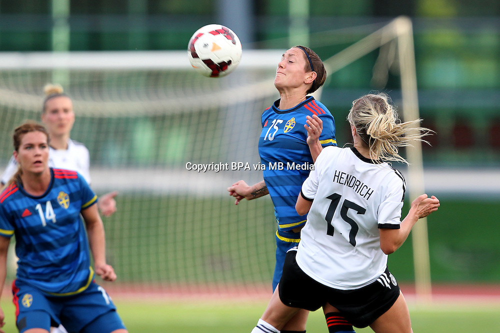 Fifa Womans World Cup Canada 2015 - Preview //<br /> Algarve Cup 2015 Tournament ( Vila Real San Antonio Sport Complex - Portugal ) - <br /> Germany vs Sweden 2-4   -  Therese Sjogran of Sweden (L) challenges with Kathrin Hendrich of Germany (R)