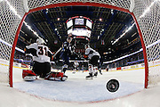 Goaltender Cody Porter #31 of the Calgary Hitmen can't stop a shot by the Saskatoon Blades at Scotiabank Saddledome on March 8, 2016. (Photo by Jenn Pierce/www.jenn-pierce.com)