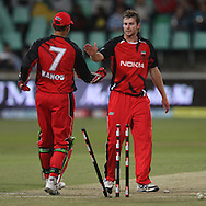 Gary Putland  takes the wicket of Praveen Kumar during match 11 of the Airtel CLT20 between The South Australian Redbacks and The Royal Challengers Bangalore held at Kingsmead Stadium in Durban on the 17 September 2010..Photo by: Steve Haag/SPORTZPICS/CLT20.