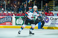 KELOWNA, CANADA - APRIL 8: Reid Gardiner #23 of the Kelowna Rockets skates against the Portland Winterhawks on April 8, 2017 at Prospera Place in Kelowna, British Columbia, Canada.  (Photo by Marissa Baecker/Shoot the Breeze)  *** Local Caption ***
