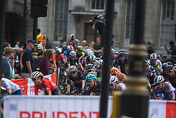 The peloton corners at the Trafalgar Square during the Prudential RideLondon Classique - a 64.8 km road race, starting and finishing in central London on July 28, 2018, in London, United Kingdom. (Photo by Balint Hamvas/Velofocus.com)
