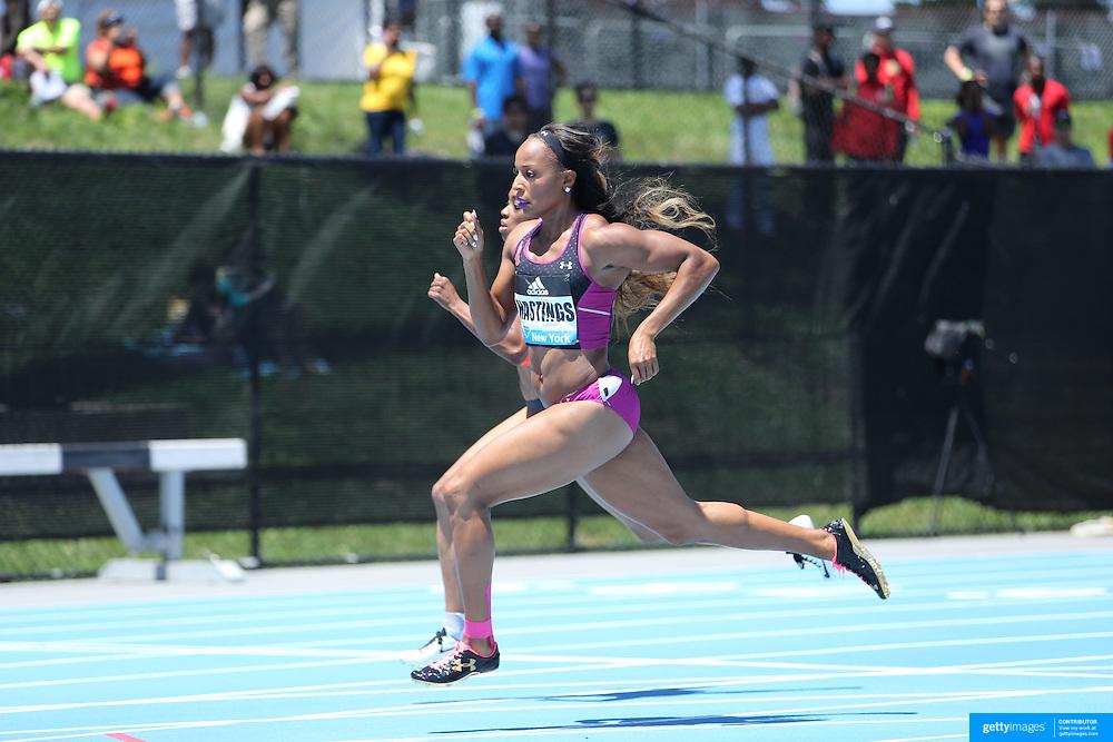 Natasha Hastings, USA, in action in Women's 400m competition during the Diamond League Adidas Grand Prix at Icahn Stadium, Randall's Island, Manhattan, New York, USA. 13th June 2015. Photo Tim Clayton
