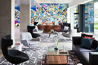 Artist Justus Roe created this awesome mural backdrop for The Hub of the Le Meridien Chicago Oakbrook Hotel.