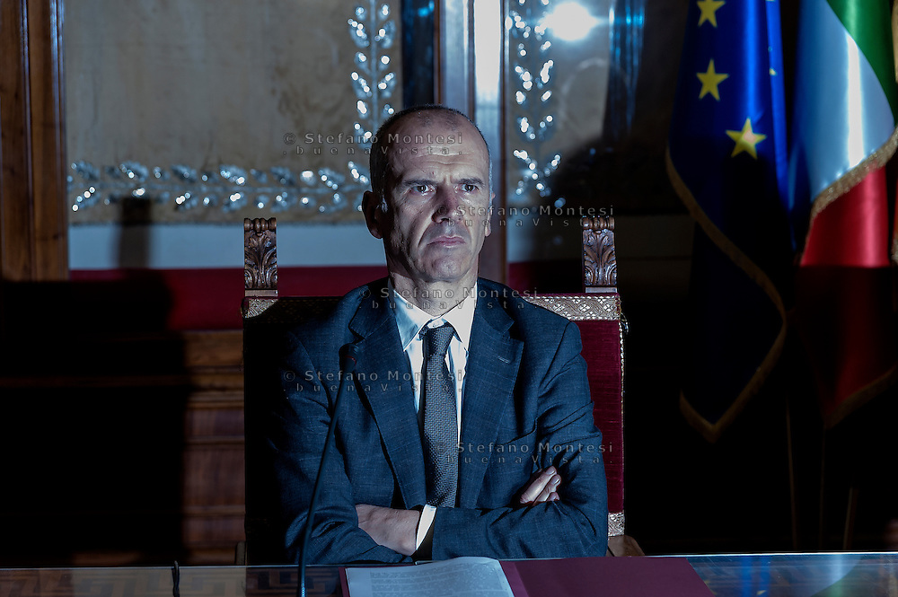 ROME, ITALY - FEBRUARY 24: Stefano Bina, general director Ama (Municipal Environment Company Rome) during  the presentation at the Capitol the memorandum of understanding on the promotion of separate collection of organic waste on February 24, 2017 in Rome,Italy.