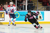 KELOWNA, BC - SEPTEMBER 21:  Leif Mattson #28 of the Kelowna Rockets skates against the Spokane Chiefs  at Prospera Place on September 21, 2019 in Kelowna, Canada. (Photo by Marissa Baecker/Shoot the Breeze)