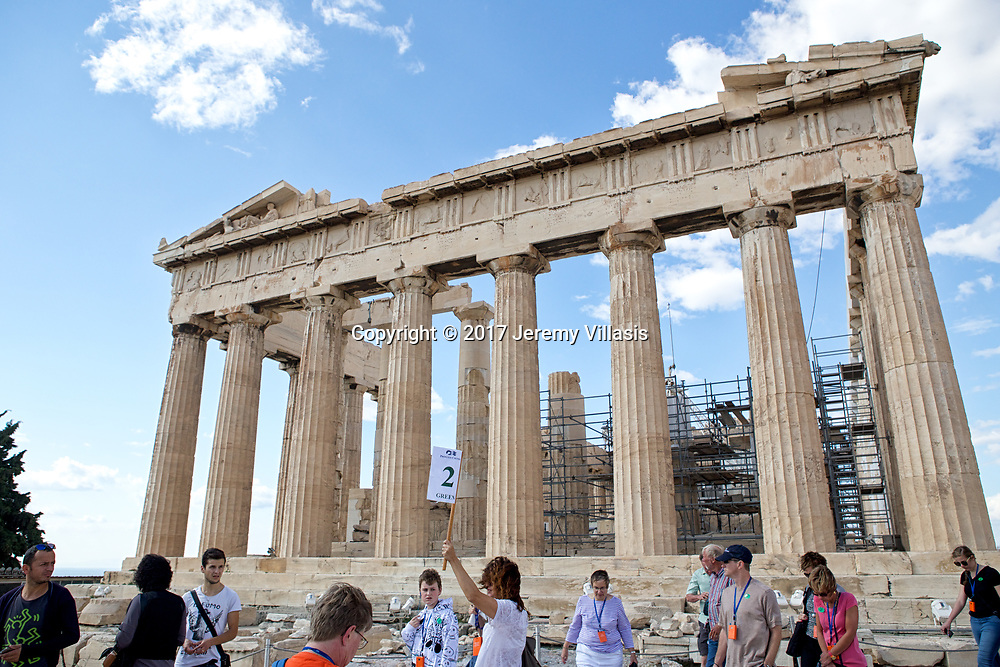 The most magnificent temple of the ancient world, the Parthenon, stands on the highest point of the Acropolis. Built between 447 - 338 BC, the temple venerated the cult of Athena Parthenos (Athena the Virgin), the Goddess of Wisdom and Warfare and the Guardian of Athens. <br /> <br /> The temple features 136 fluted Doric columns (in repeated rows of 8 x 17), creating a sense of harmony and order.