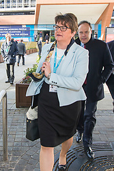 © Licensed to London News Pictures. 03/10/2017. Manchester UK. DUP Leader Arlene Foster arrives at the Conservative Party Conference this morning ahead of Boris Johnson's speech to the Party Conference this afternoon in Manchester. Photo credit: Andrew McCaren/LNP