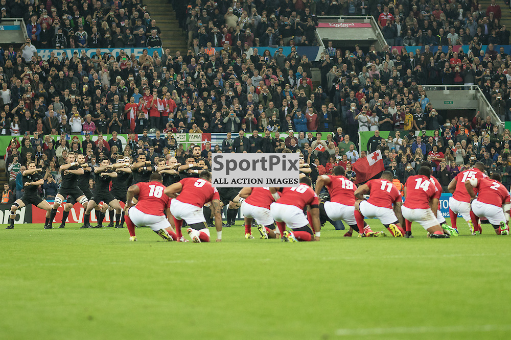 New Zealand and Tonga exchange thier challenges.<br /> New Zealand v Tonga, 9th October 2015