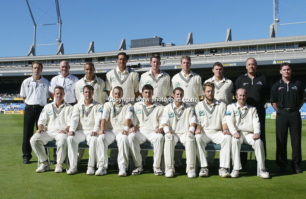 Black Caps team photo during the 3rd cricket test between England and New Zealand, 2 April, 2002, Eden Park, Auckland, New Zealand. Photo: Andrew Cornaga/PHOTOSPORT<br /><br /><br /><br />045948
