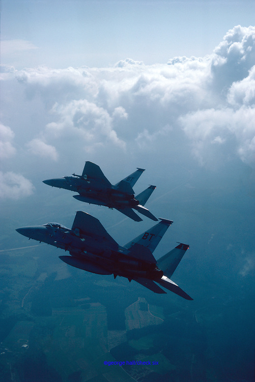 F-15 Eagles flying in formation