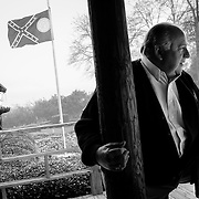 Larry Sconyers, President and owner of Sconyers BBQ in Augusta, is the former mayor of Augusta. His family has run the restaurant for 49 yrs. The Confederate Flag greets visitors.