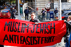 November 10, 2018 - New York, New York, U.S. - Protest against fascism and anti-Semitism on the Upper East Side on Manhattan Island in New York City. Three protesters were arrested  (Credit Image: © William Volcov/ZUMA Wire)