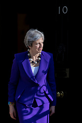© Licensed to London News Pictures. 18/04/2018. London, UK. Prime Minister Theresa May leaves 10 Downing Street to greet Indian Prime Minister Narendra Modi. Photo credit: Rob Pinney/LNP