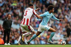 Leroy Sane of Manchester City takes on Erik Pieters of Stoke City - Mandatory by-line: Matt McNulty/JMP - 14/10/2017 - FOOTBALL - Etihad Stadium - Manchester, England - Manchester City v Stoke City - Premier League