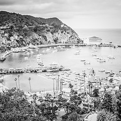 Avalon California Catalina Island black and white photo. Santa Catalina Island Avalon Bay from above with the Avalon Casino, Avalon Pier, Holly Hill House, and the Avalon waterfront along the Pacific Ocean.