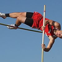 Maple Grove's Brad Benson during the pole Vault competition at the Joseph Paterniti Memorial Track and Field Classic at Strider Field 5-13-16 photo by Mark L. Anderson