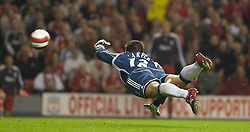 LIVERPOOL, ENGLAND - WEDNESDAY, SEPTEMBER 20th, 2006: Newcastle United's goalkeeper Stephen Harper flaps as Liverpool's Xabi Alonso scores a spectacular goal from inside his own half during the Premiership match at Anfield. (Pic by David Rawcliffe/Propaganda)