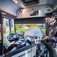 Nederland, Almere, 8 april 2016.<br /> Buschauffeur Lucas Lowesteijn aan het werk.<br /> Verhaal over steeds meer agressie en geweld richting buschauffeurs<br /> Foto: Jean-Pierre Jans