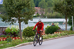 ROTTACH-EGERN, GERMANY - Thursday, July 27, 2017: Liverpool's Emre Can cycles back from training from the Seehotel Uberfahrt on the banks of Lake Tegernsee on day two of their preseason training camp in Germany. (Pic by David Rawcliffe/Propaganda)
