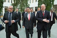 """15 MAY 2012, BERLIN/GERMANY:<br /> Frank-Walter Steinmeier (L), SPD Fraktionsvorsitzender, Sigmar Gabriel (M), SPD Parteivorsitzender, Peer Steinbrueck (R), SPD, Bundesminister a.D., auf dem Weg zu einer Pressekonferenz zum Thema """" Der Weg aus der Krise – Wachstum und Beschäftigung in Europa"""", Bundespressekonferenz<br /> IMAGE: 20120515-01-013<br /> KEYWORDS: Peer Steinbrück"""