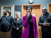 31 JANUARY 2020 - DES MOINES, IOWA: U.S. Representative ILHAN OMAR (D-MN) speaks on behalf of Senator Bernie Sanders' campaign for the Presidency at the Muslim Community Organization Mosque in Des Moines. Rep. Omar has campaigned for Senator Sanders in Iowa and Minnesota. The Iowa caucuses are Feb. 3.    PHOTO BY JACK KURTZ