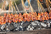 Apr 23 - BALI, INDONESIA -  Chicken satay (barbecued on a skewer) in a street stall in Kintamani, a small town in the mountains of central Bali. Photo by Jack Kurtz/ZUMA Press