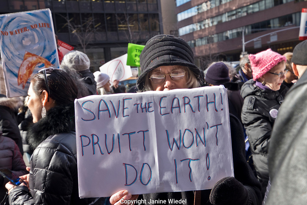 Environmental protest in New York City against election of Scott Pruitt to head up EPA, 2nd Feb 2017
