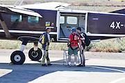 Israel, Habonim Skydive centre aeroplane on runnway jumpers board the plane