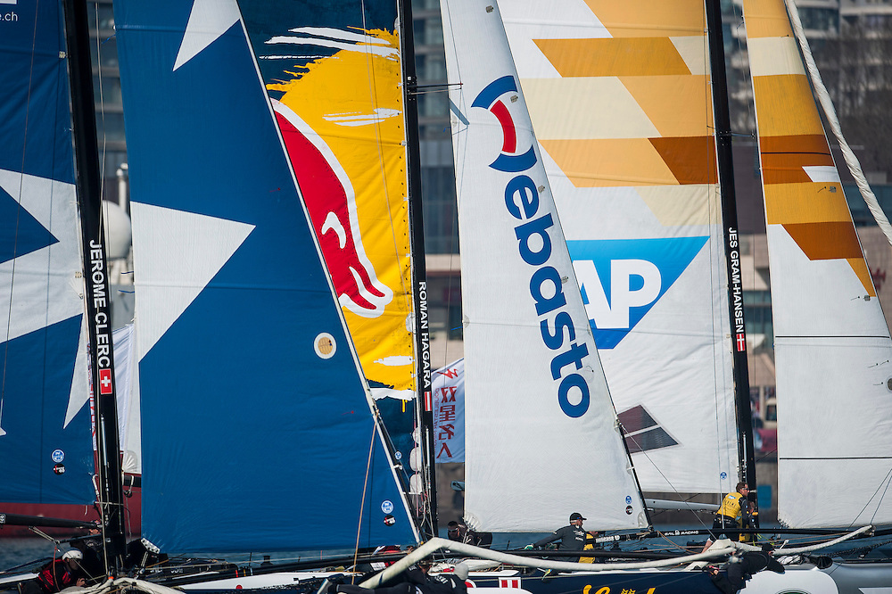 "QUINGDAO, CHINA - MAY 5: Day four of the Extreme Sailing Series Qingdao ""Double Star"" Cup at Olympic Qingdao Yacht Club on May 5th 2013 in Qingdao, China . Photo by Xaume Olleros / Getty Images"