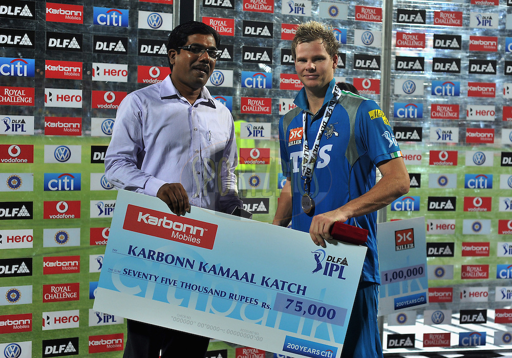 Steve Smith of Pune Warriors India receives the Karbonn Kamal Katch award  during match 16 of the Indian Premier League ( IPL) 2012  between The Pune Warriors India and the Chennai Super Kings held at the Subrata Roy Sahara Stadium, Pune on the 16th April 2012..Photo by Pal Pillai/IPL/SPORTZPICS