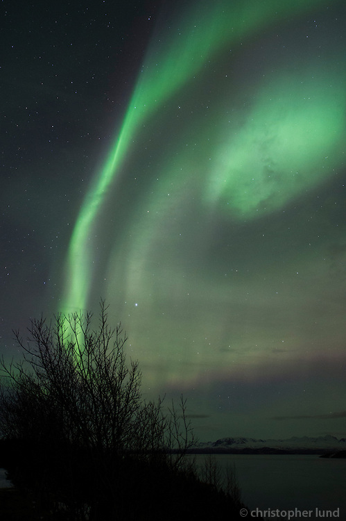 Northern Lights - Aurora Borealis over the road on the west side of lake Þingvallavatn.