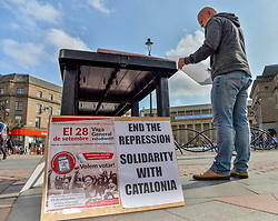 Activists held a rally in the centre of Dundee in support of the Catalonian independence vote due to be held in October.<br /> <br /> &copy; Dave Johnston/ EEm