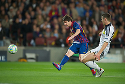 24.04.2012, Stadion Camp Nou, Barcelona, ESP, UEFA CL, Halblfinal-Rueckspiel, FC Barcelona (ESP) vs FC Chelsea (ENG), im Bild FC Barcelona's Lionel Messi in action against Chelsea during the UEFA Championsleague Halffinal 2st Leg Match, between FC Barcelona (ESP) and FC Chelsea (ENG), at the Camp Nou Stadium, Barcelona, Spain on 2012/04/24. EXPA Pictures © 2012, PhotoCredit: EXPA/ Propagandaphoto/ David Rawcliff..***** ATTENTION - OUT OF ENG, GBR, UK *****
