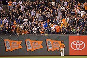 San Francisco Giants left fielder Angel Pagan (16) watches a home run hit by Baltimore Orioles first baseman Chris Davis (19) at AT&T Park in San Francisco, Calif., on August 12, 2016. (Stan Olszewski/Special to S.F. Examiner)