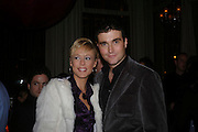Lady Alexandra Spencer-Churchill and David Peacock, W'Sens-restaurant launch party. 12 Waterloo Place. 10 December 2004. ONE TIME USE ONLY - DO NOT ARCHIVE  © Copyright Photograph by Dafydd Jones 66 Stockwell Park Rd. London SW9 0DA Tel 020 7733 0108 www.dafjones.com