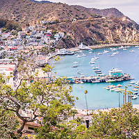 Catalina Island high resolution panorama photo with Avalon Bay, Catalina Casino, Catalina Pier, and city of Avalon.