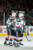KELOWNA, CANADA - MARCH 5: The Kelowna Rockets celebrate the third goal of a record breaking game in the team franchise history on March 5, 2014 at Prospera Place in Kelowna, British Columbia, Canada. The Rockets earned their 53 win of the season breaking the previous record of 52 wins per season acquired in 2012-2013  (Photo by Marissa Baecker/Getty Images)  *** Local Caption ***