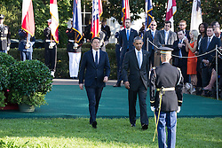 October 18, 2016 - Washington, DC, United States - On the South Lawn  of the White House in Washington, D.C., U.S., on Tuesday, Oct. 18, 2016., (l-r), Italian Prime Minister Matteo Renzi, and President Barack Obama, make their way onto the lawn to greet guests, during the ceremony at the Official State Visit. This was the last Official State Visit for the Obama administration. (Credit Image: © Cheriss May/NurPhoto via ZUMA Press)