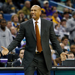 January 24,  2011; New Orleans, LA, USA; New Orleans Hornets head coach Monty Williams during the fourth quarter against the Oklahoma City Thunder at the New Orleans Arena. The Hornets defeated the Thunder 91-89. Mandatory Credit: Derick E. Hingle