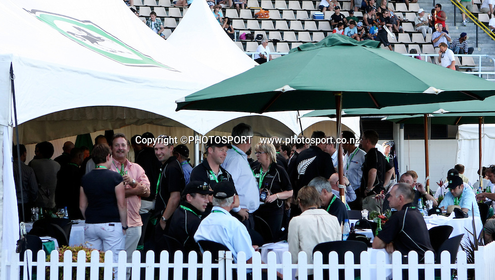 Clients enjoy the National Bank Marquee. New Zealand Black Caps v Australia. 1st ODI, Chappell-Hadlee Trophy Series. McLean Park, Napier. Wednesday 03 March 2010  Photo: John Cowpland/PHOTOSPORT