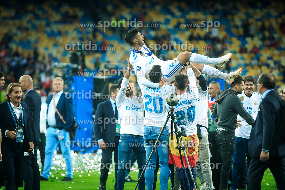 Marco Asensio of Real Madrid celebrates after they won 3-1 during the UEFA Champions League final football match between Liverpool and Real Madrid and became Champions League  2018 Champions third time in a row at the Olympic Stadium in Kiev, Ukraine on May 26, 2018.Photo by Sandi Fiser / Sportida
