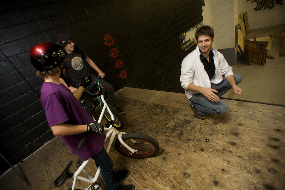 James Lyng High School students enjoy a Friday afternoon at UAB ( Ugly Ass Bikes ) in Saint-Henri. The students are part of Fusion Jeunesse - Youth Fusion 's program at James Lyng High School.