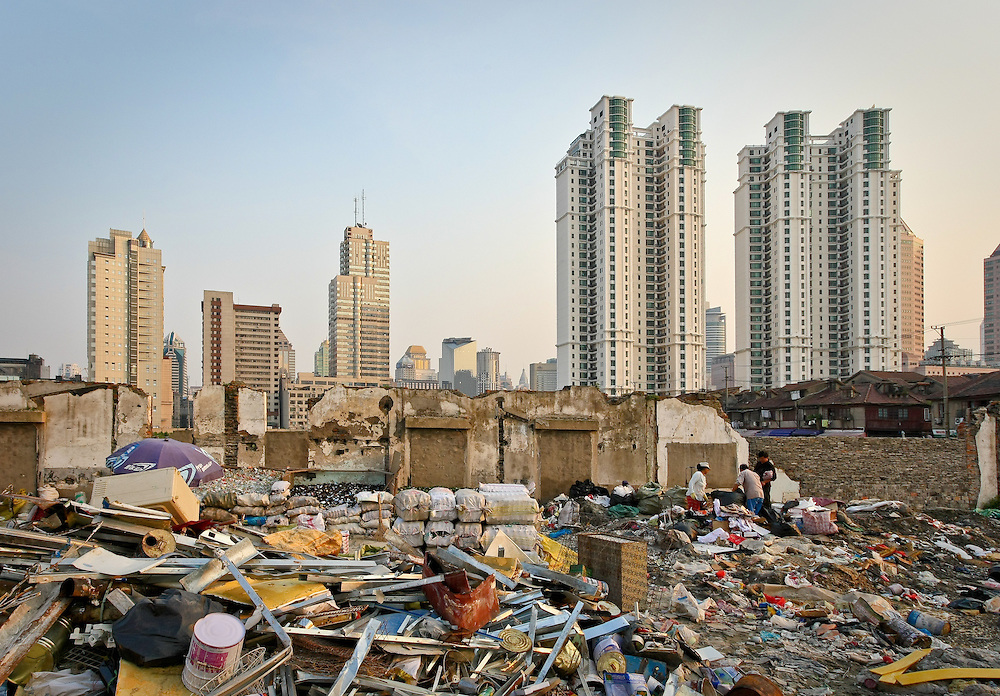 Demolished houses replaced by high-rise apartment buildings in Shanghai to make way for modernization (Shanghai, China).