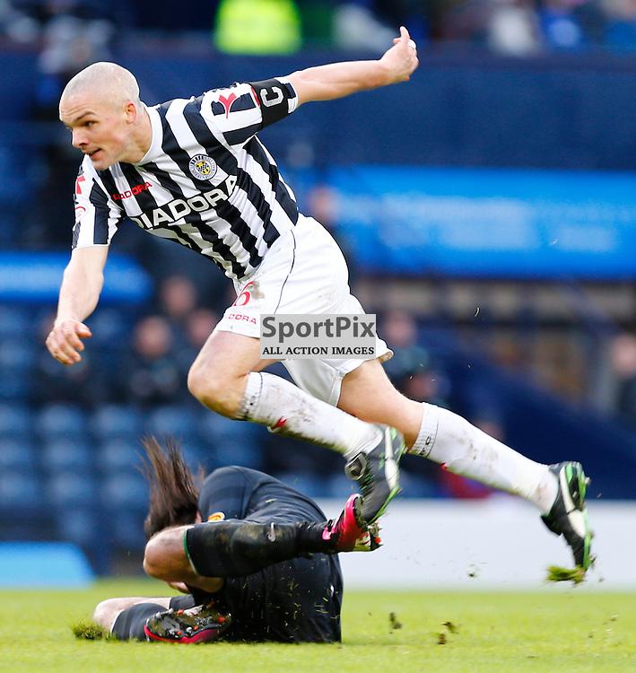 ST.MIRREN v CELTIC Scottish Communities League Cup Semi Final Hampden..Jim Goodwin leaps across a fallen Georgios Samaras.......(c) STEPHEN LAWSON   StockPix.eu
