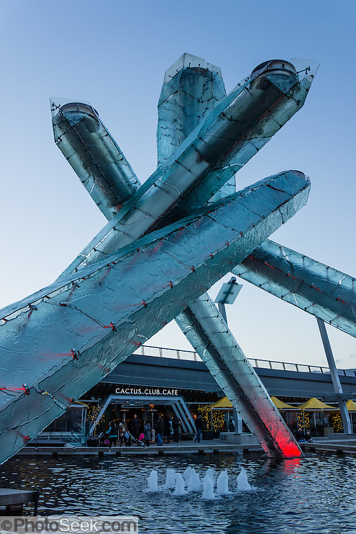 2010 Olympic Cauldron in Jack Poole Plaza, Vancouver Convention Centre, Vancouver, British Columbia, Canada.