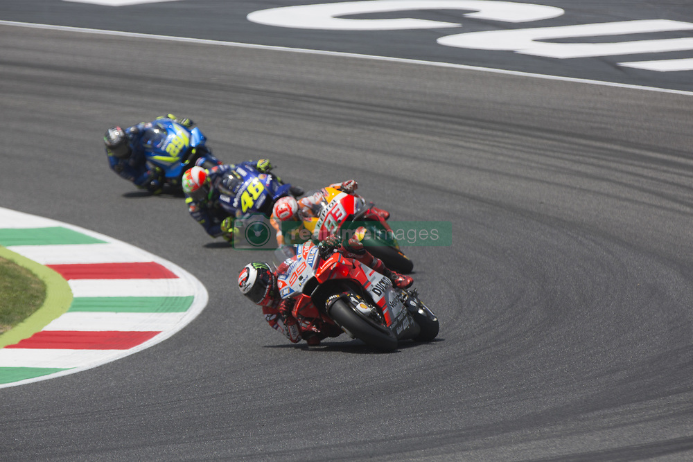 June 3, 2018 - Mugello, Italy, Italy - 93Marc MARQUEZ   Repsol Honda Team , 99Jorge LORENZO   Ducati TeamDucati  during Race MotoGP at Mugello International Cuircuit for the sixth round of MotoGP World Championship Gran Premio d'Italia Oakley on June 3, 2018 in Scarperia, Italy  (Credit Image: © Fabio Averna/NurPhoto via ZUMA Press)
