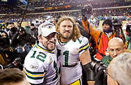 Green Bay Packers' Aaron Rodgers and Josh Sitton after the Packers beat the Bears 21-14<br /> The Green Bay Packers traveled to Soldier Field in Chicago to play the Chicago Bears in the NFC Championship Sunday January 23, 2011. Steve Apps-State Journal.