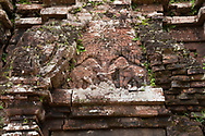 Stone carving of dueling elephants on Monument B5 in the Cham Temple ruins at the My Son Sanctuary, Quang Nam Province, Vietnam, Southeast Asia